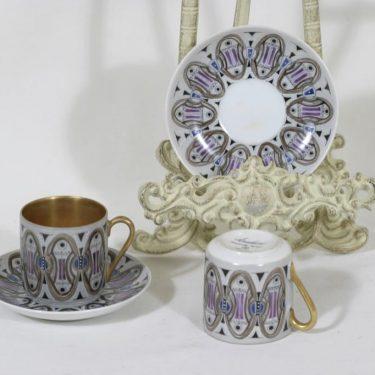 Arabia Zaida mokkakupit, käsinmaalattu, 2 kpl, suunnittelija Olga Osol, käsinmaalattu, signeerattu