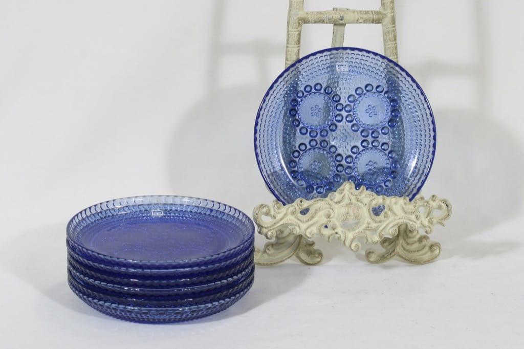 Riihimäen lasi Grapponia lautaset, sininen, 7 kpl, suunnittelija Nanny Still, pieni