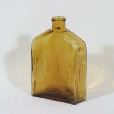 Riihimäen lasi Lankkupullo koristepullo, ruskea, suunnittelija Helena Tynell,