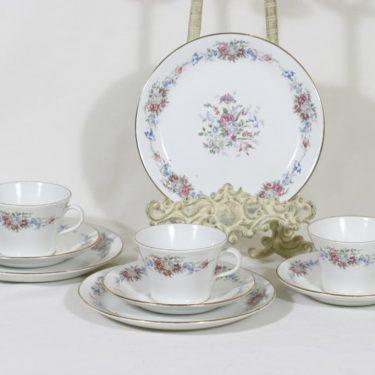 Arabia NG kahvikupit ja lautaset, kukkakuvio, 3 kpl, suunnittelija , kukkakuvio, siirtokuva