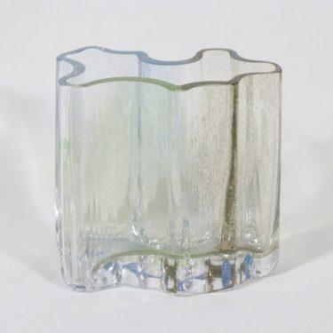 Riihimäen lasi Sokkelo maljakko, signeerattu, suunnittelija Helena Tynell, signeerattu, massiivinen