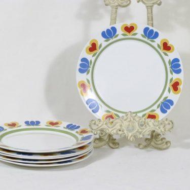 Arabia Könni lautaset, 6 kpl, suunnittelija Raija Uosikkinen, pieni, serikuva