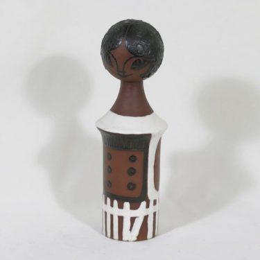 Kupittaan savi keramiikkanukke, käsinmaalattu, suunnittelija Orvokki Laine, käsinmaalattu, suuri, signeerattu