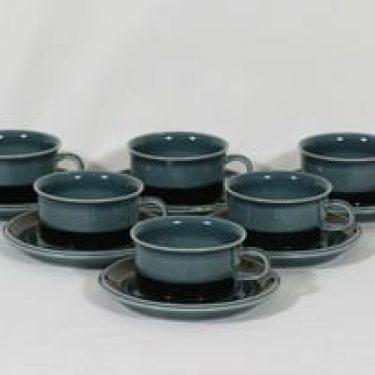Arabia Meri teekupit, sininen, 6 kpl, suunnittelija Ulla Procope,