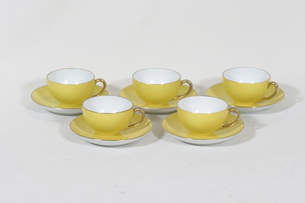 Arabia RV mokkakupit, keltainen, 5 kpl, suunnittelija , koristelematon