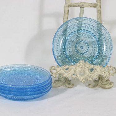Nuutajärvi Kastehelmi lautaset, sininen, 5 kpl, suunnittelija Oiva Toikka, pieni