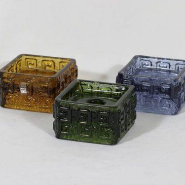 Riihimäen lasi Taalari kynttilänjalat, eri värejä, 3 kpl, suunnittelija Tamara Aladin,