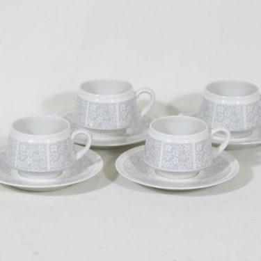 Arabia Pitsi kahvikupit, harmaa, 4 kpl, suunnittelija Raija Uosikkinen, serikuva