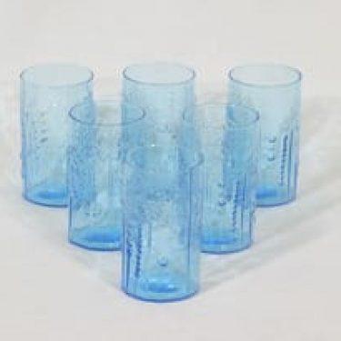 Nuutajärvi Flora lasit, sininen/turkoosi, 6 kpl, suunnittelija Oiva Toikka,