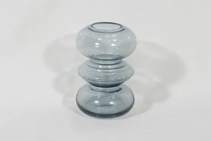 Riihimäen lasi Tiimalasi maljakko, siniharmaa, suunnittelija Nanny Still,