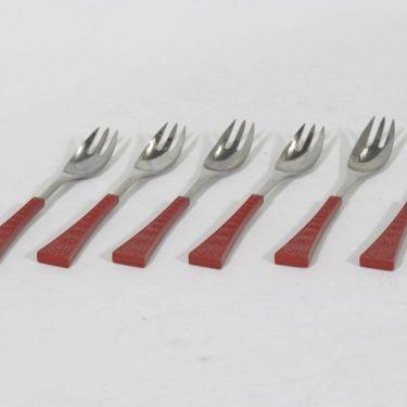 Hackman Colorina haarukat, 6 kpl, suunnittelija Nanny Still, pieni, punainen muovivarsi