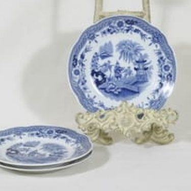 Arabia Singapore lautaset, sininen, 3 kpl, suunnittelija , pieni, kuparipainokoriste