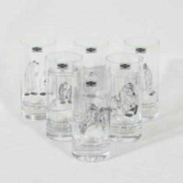 Nuutajärvi lasit, 30 cl, 6 kpl, suunnittelija Kari Suomalainen, 30 cl, serikuva, sarjakuva-aihe