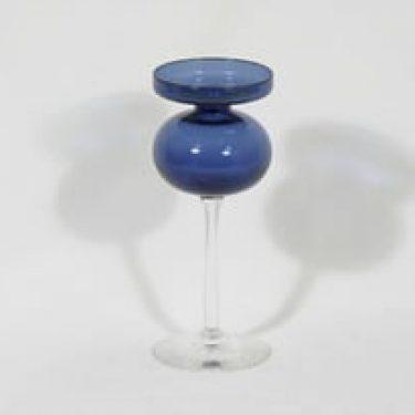 Iittala 2660 kynttilänjalka, kirkas-sininen, suunnittelija Erkki Vesanto,