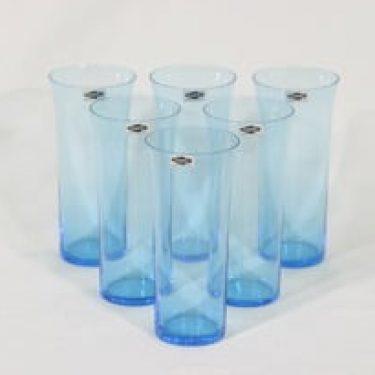 Nuutajärvi Trumpetti lasit, sininen, 6 kpl, suunnittelija Kaj Franck,