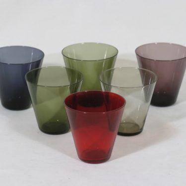 Nuutajärvi Kartio lasit, eri värejä, 6 kpl, suunnittelija Kaj Franck,