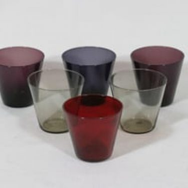 Nuutajärvi Kartio lasite, eri värejä, 6 kpl, suunnittelija Kaj Franck, pieni