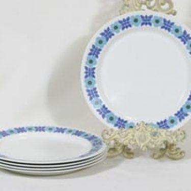 Arabia Ahmet lautaset, matala, 5 kpl, suunnittelija Raija Uosikkinen, matala, serikuva, retro