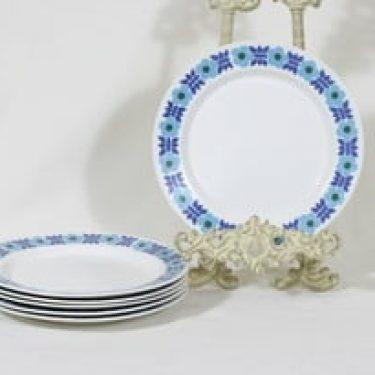 Arabia Ahmet lautaset, matala, 6 kpl, suunnittelija Raija Uosikkinen, matala, pieni, serikuva, retro