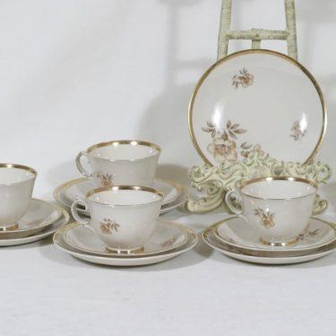 Arabia Myrna kahvikupit ja lautaset, 5 kpl, suunnittelija Olga Osol, siirtokuva