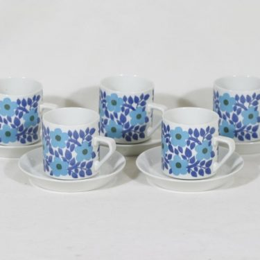 Arabia Ahmet kahvikupit, sininen, 5 kpl, suunnittelija Raija Uosikkinen, serikuva, retro