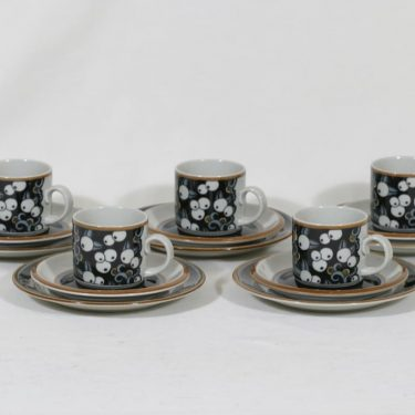 Arabia Taika kahvikupit ja lautaset, 5 kpl, suunnittelija Inkeri Seppälä, serikuva