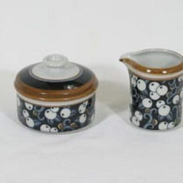 Arabia Taika sokerikko ja kermakko, suunnittelija Inkeri Seppälä, serikuva