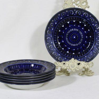 Arabia Valencia lautaset, syvä, 6 kpl, suunnittelija Ulla Procope, syvä, käsinmaalattu, signeerattu