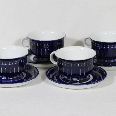 Arabia Valencia teekupit, 22.5 cl, 4 kpl, suunnittelija Ulla Procope, 22.5 cl, käsinmaalattu, signeerattu