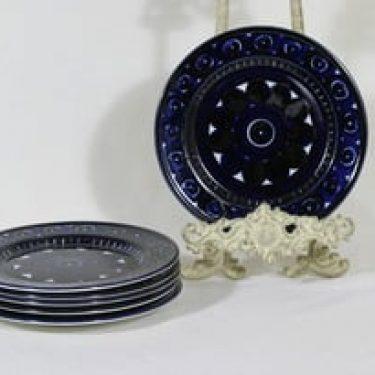 Arabia Valencia lautaset, pieni, 6 kpl, suunnittelija Ulla Procope, pieni, käsinmaalattu, signeerattu