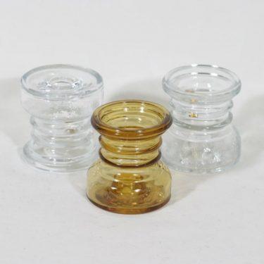 Riihimäen lasi Carmen kääntömaljakot, kirkas|amber, 3 kpl, suunnittelija Tamara Aladin, pieni