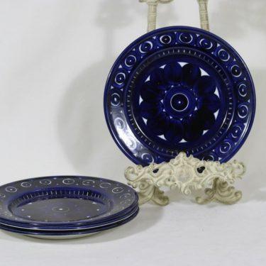 Arabia Valencia lautaset, käsinmaalattu, 4 kpl, suunnittelija Ulla Procope, käsinmaalattu, pieni, signeerattu