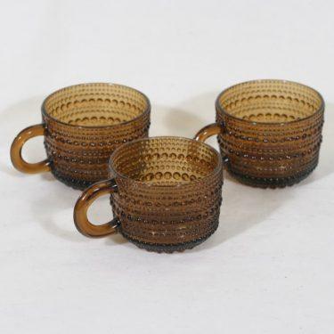 Nuutajärvi Kastehelmi kahvikupit, ruskea, 3 kpl, suunnittelija Oiva Toikka,