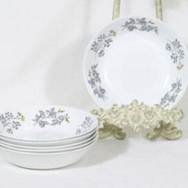 Arabia Hilkka lautaset, syvä, 6 kpl, suunnittelija Esteri Tomula, syvä, serikuva