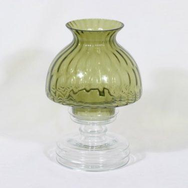 Riihimäen lasi Apollo kynttilälyhty, oliivinvihreä, suunnittelija Nanny Still, rihlakoriste