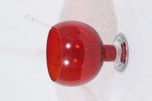 Riihimäen lasi Old King Cole boolimalja ja kauha, punainen, suunnittelija Erkkitapio Siiroinen, suuri