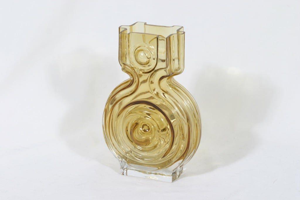 Riihimäen lasi Aitanlukko maljakko, amber, suunnittelija Helena Tynell,