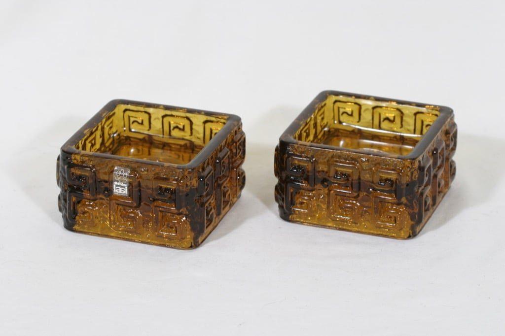 Riihimäen lasi Taalari kynttilänjalat, ruskea, 2 kpl, suunnittelija Tamara Aladin,
