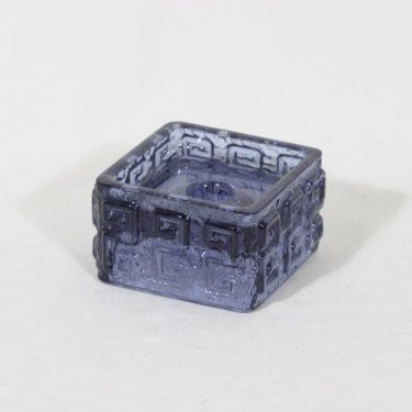 Riihimäen lasi Taalari kynttilänjalka, siniharmaa, suunnittelija Tamara Aladin,