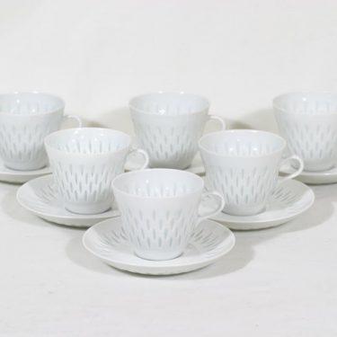 Arabia FK/VA kahvikupit, riisiposliini, 6 kpl, suunnittelija Friedl Holzer-Kjellberg, riisiposliini, massasigneerattu