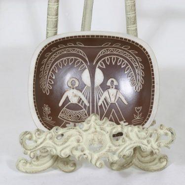 Arabia Tarina bowl, brown, designer Arabian taideteollisuusosasto, small, scraping decoration