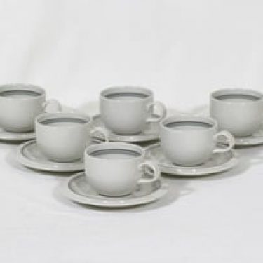 Arabia Airisto kahvikupit, 6 kpl, suunnittelija Inkeri Leivo, raitakoriste