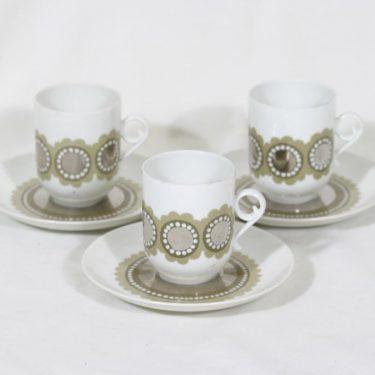 Arabia Tanja kahvikupit, 3 kpl, suunnittelija Esteri Tomula, serikuva