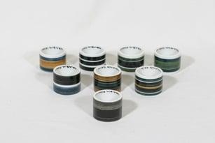 Arabia GS lautasliina-/munarenkaat, käsinmaalattu, 6 kpl, suunnittelija Gunnel Sallmen, käsinmaalattu, signeerattu