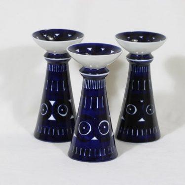 Arabia Valencia kynttilänjalat, 3 kpl, suunnittelija Ulla Procope, käsinmaalattu, signeerattu, suuri