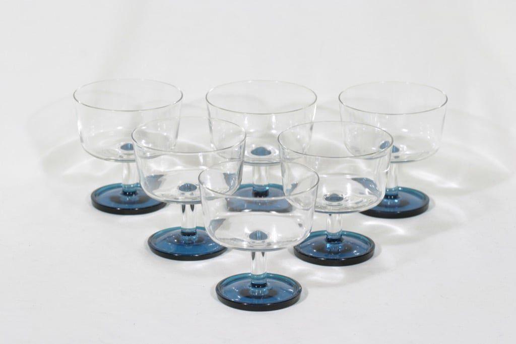 Riihimäen lasi Ultra annosmaljat, kirkas-sininen, 6 kpl, suunnittelija Nanny Still,
