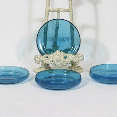 Riihimäen lasi Pomona lautaset, sininen, 4 kpl, suunnittelija Helena Tynell, pieni
