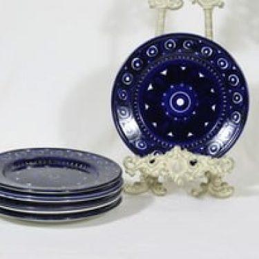 Arabia Valencia lautaset, pieni, 7 kpl, suunnittelija Ulla Procope, pieni, matala, käsinmaalattu, signeerattu