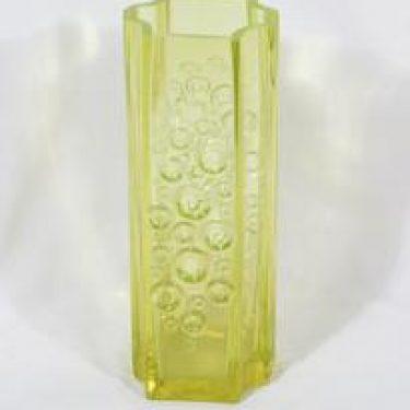Riihimäen lasi Presto maljakko, keltainen, suunnittelija Tamara Aladin, massiivinen, retro