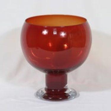 Riihimäen lasi Old King Cole boolimalja, rubiininpunainen, suunnittelija Erkkitapio Siiroinen, suuri